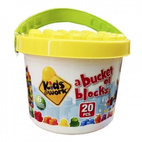 Kids Work Cubeta Bloques 20 piezas - Envío Gratuito